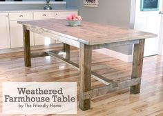 Pallet Table Plans 40 Free DIY Farmhouse Table Plans to Give the Rustic Feel to Your Dining Room - Add the warm rustic feeling to your house with the farmhouse style table. Here's a collection of 40 free DIY farmhouse table plans and ideas. White Farmhouse Table, Build A Farmhouse Table, Farmhouse Kitchen Tables, Farmhouse Furniture, Dining Furniture, Diy Kitchen, Rustic Table, Rustic Farmhouse, Farmhouse Style