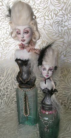Vintage Glass Bottle Art Doll Sculpt by freakylittlethings ...so cute <3 Altered Art Bottle