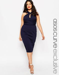 ASOS CURVE Bodycon Pencil Dress With Twist Neck