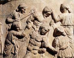 Roman civilization, Plaster cast of Trajan's Column, Dacian women torturing Roman prisoners. 2nd century A.D. Plaster cast of the Trajan's Column.