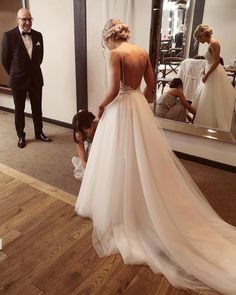 Amazing bridal preparation moment beautifully captured Double tap & TAG your g… – Wedding Day Ready Dream Wedding Dresses, Prom Dresses, Wedding Dress Train, Spagetti Strap Wedding Dress, Wedding Goals, Dream Dress, Perfect Wedding, Getting Married, Wedding Inspiration