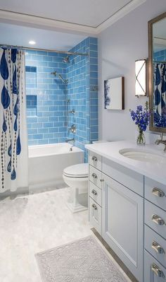 Traditional Coastal Home with Classic White and Blue Bathroom