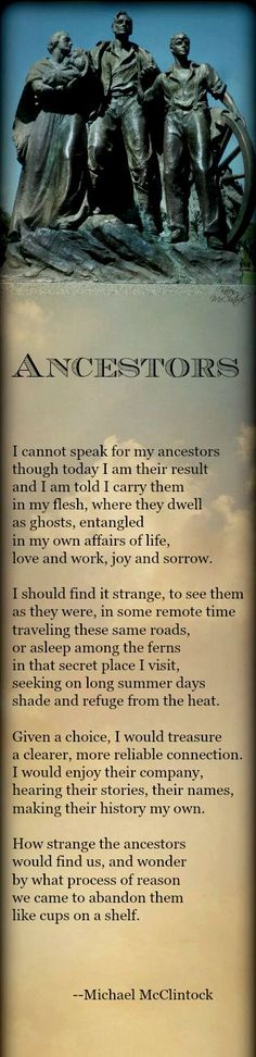 Poem: Ancestors -- by Michael McClintock.