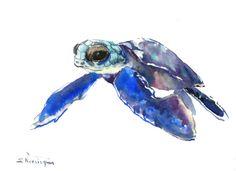 Sea Turtle painting, original watercolor painting,  blue nautical wall art, light blue minimalist by ORIGINALONLY on Etsy