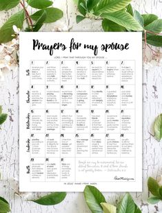 prayers for my husband 31 day calendar printable challenge