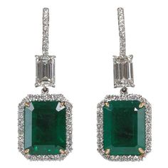 Fine Emerald and Diamond Drop Earrings   From a unique collection of vintage dangle earrings at http://www.1stdibs.com/jewelry/earrings/dangle-earrings/