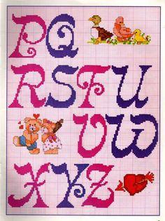 Graficos Ponto Cruz Abecedário (Amor) - A Minha Esfera Cross Stitch Alphabet, Cross Stitch Patterns, Lettering Tutorial, Needlepoint, Needlework, Kids Rugs, Letters, Embroidery, Painting
