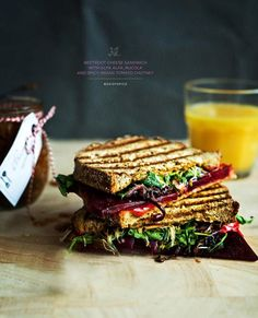 beetroot sandwich and sprouts