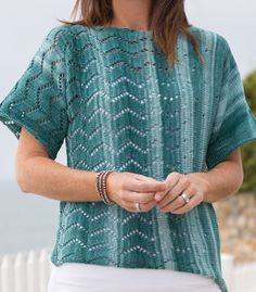 Knitting Pattern for Desert Sands Tee - Short sleeved top features an easy chevron lace. Woman's S through XL.