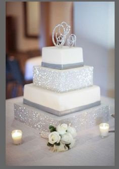 Wedding Cakes We LOVE glitter, and we know you do too! Don't miss the rest of these sparkly wedding ideas! - Glitz, glam and fashion - who doesn't love a sparkly wedding? Here are some of our favorite trendy bits of glitter wedding inspiration! Creative Wedding Cakes, Beautiful Wedding Cakes, Wedding Cake Designs, Beautiful Cakes, Sparkly Wedding Cakes, Wedding Cake Square, Glamorous Wedding Cakes, Glitz Wedding, Silver Weddings
