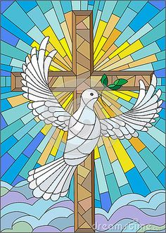 Illustration about Illustration with a cross and a dove in the stained glass style. Illustration of brown, church, cloud - 73757362 Stained Glass Church, Stained Glass Quilt, Stained Glass Crafts, Stained Glass Patterns, Religious Paintings, Religious Art, Stained Glass Cookies, Première Communion, Cross Art