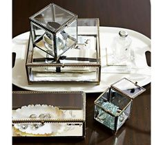 Elaine Glass Display Box | Pottery Barn  3rd Year Anniversary gift idea. Display personal keepsakes from the wedding.