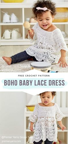 Crochet Baby Dress Free Pattern, Crochet Baby Cardigan, Crochet Patterns, Knitted Baby, Baby Patterns, Crochet Ideas, Crochet Projects, Crochet Girls, Crochet For Kids