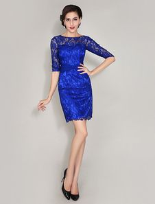 Charming Royal Blue Crewneck Twisted Lace Dress For Mother Of Bride