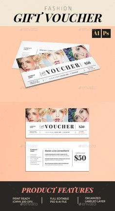 Fashion Gift Voucher Template PSD, AI Illustrator. Download here: http://graphicriver.net/item/fashion-gift-voucher/16494822?ref=ksioks