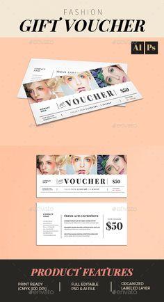 Fashion Gift Voucher Template PSD, AI Illustrator. Download here: http://graphicriver.net/item/fashion-gift-voucher/16494822?ref=ksioks