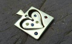Handmade Sterling Silver Heart Pendant with Sapphires, Peridot and Garnets by FieldsJewellery on Etsy