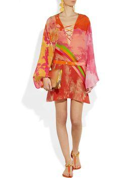 Versace|Printed silk mini dress|NET-A-PORTER.COM