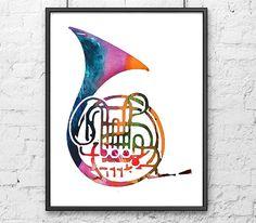 Music Art Print French Horn Brass Instrument by Thenobleowl