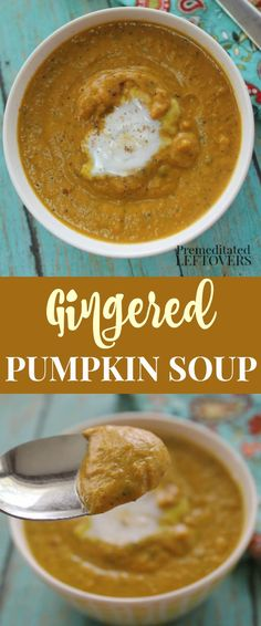 This homemade gingered pumpkin soup recipe will warm you on chilly evenings. Made with ginger and nutmeg, you will love the fall flavors in every bowl of this hearty ginger pumpkin soup! Fall soup recipe idea.