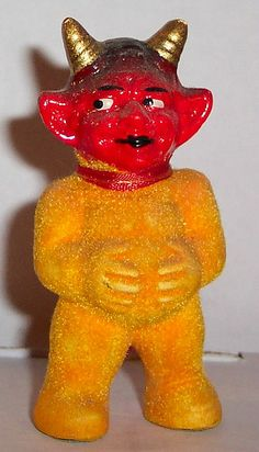 Vintage Halloween Devil figure made of porcelain , Made in U.S. Zone Germany .  Photo by riptheskull
