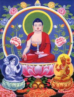 Medicine Buddha with Surya-prabha Bodhisattva (Sunlight) and Candra-prabha Bodhisattva (Moonlight)