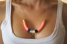 Neon Coral Rope Necklace - Statement Tribal Bib Necklace - Mint Purple Black White Thread Cord & Gold Arrow Triangle