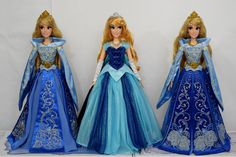 Limited Edition Blue Aurora 17'' Dolls - Disney Store and Disney Parks - Side by Side - Full Front View