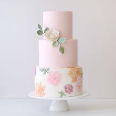 www.sugarlipscakes.com    Painted Wedding Cake    Blush