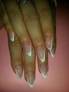 Soft simple french stiletto nails