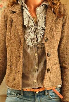 Tweed Jacket With Jeans. Hate the ruffles, love everything else Ruffled  Shirt, Ruffle 2daca35a08e0
