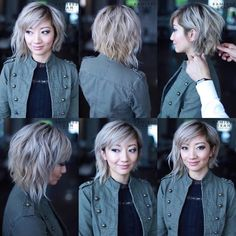 These great short layered bob with bangs images here will guide for a new appereance and amazing experience. Let's take a look these chic short haircuts Choppy Bob Hairstyles, Pretty Hairstyles, Medium Asymmetrical Hairstyles, Medium Asymmetrical Bob, Edgy Bob Haircuts, Haircut Bob, Hairstyle Ideas, Assymetrical Haircut, Short Haircuts