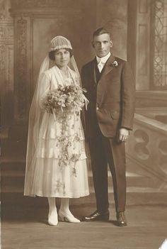 1919 Walter and Dora (Runge) Bortz. #Wiedmann #genealogy #wedding