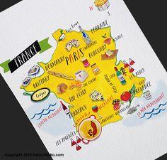 Kitchen Art French Food Map Print 5x7 by nancynikkodesign on Etsy