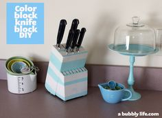 A Bubbly Life: DIY Color Block Your Knife Block!
