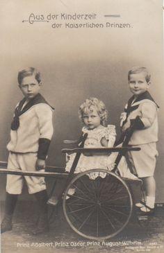 Prince Adalbert, Prince Oskar and Prince August Wilhelm of Prussia, sons of the German Kaiser, Wilhelm II.