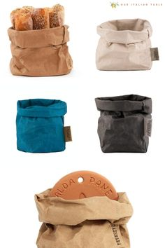 This zero waste bread bag is made of leftover cotton fibers so it is as sustainable as it is beautiful. Washable paper that feels like leather and washes like fabric. These beautiful bread bags come in 4 colors and hold your fresh bread at the table, your keys at the front door, or your favorite plant. Handmade by artisans in Italy. #breadbag #breadbags #breadmaking #breadmaker #homemadebread #sustainable #sustainability #sustainablebag #zerowaste #zerowastebag #zerowastekitchen…