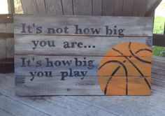 Beautiful quote for any sports enthusiast....  Sports do not build character, they reveal it.  ~ John Wooden  This would make a great COACHS GIFT!!! I did this for my sons basketball coach and had all the boys sign their name on the ball with a Sharpie.  HAND PAINTED....no stencils and no vinyl used!!!  Wood is sanded, painted, and sanded again. Sign is sealed with a wax finish to add a bit more of an aged look as well as protect the sign.  Finished size is 24x14  Signs are made to order…