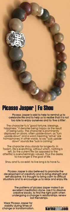 #BEADED #Yoga #BRACELETS  ♛ #Picasso Jasper is said to help to remind us to celebrate life and to help us to realize that it is not too late to enjoy ourselves and to 'live a little'. #Mens #Jewelry #Eckhart #Tolle #Crystals #Energy #gifts #Handmade #Healing #Kundalini #Law #Attraction #LOA #Love #Mala #Meditation #prayer #Reiki #mindfulness #wisdom #Fashion #birthday #Spiritual #Buddhist #Tony #Robbins #Gifts #Womens