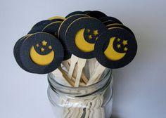 12 Halloween Night Sky Cupcake Toppers by BellaBooSmile on Etsy, $9.95