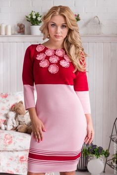 """Купить Платье """"Ромашки в саду"""" - розовый, вязаное платье, теплое платье, Розовое платье"""