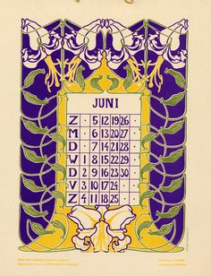 Bloem en blad (Flower and leaf). Vintage Calendar, Art Calendar, Calendar Girls, Calendar Pages, Vintage Playing Cards, Vintage Cards, Kalender Design, 1950s Art, Art Nouveau Pattern