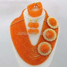 Orange Crystal Beads Necklace Set,African Wedding Crystal Beaded Jewelry,African Nigerian Wedding Crystal Beads Necklace.$57