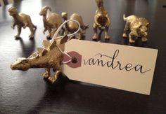 Place Cards/Gold Dinosaur Escort/Seating Cards/Place Cards/Wedding/Engagement Party/Bridal Shower/Baby Shower/Wedding Favor/Birthday Party