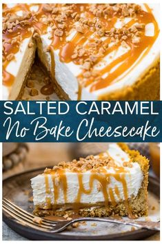 Salted Caramel No Bake Cheesecake Recipe This Salted Caramel No Bake Cheesecake is rich and decadent with that perfect mix of salt and sweety flavors. The creamy cheesecake is topped with caramel sauce for a truly indulgent and delicious dessert. Salted Caramel Cheesecake, Baked Cheesecake Recipe, Cheesecake Desserts, Köstliche Desserts, Delicious Desserts, Dessert Recipes, Desserts Caramel, Easy No Bake Cheesecake, Health Desserts