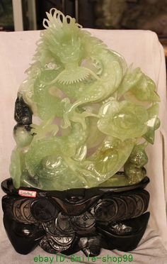 "21"" Chinese Natural Green Jade Wealth YuanBao Dragon Animal Earthnut Ruyi Statue"