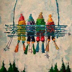 pick a pass Ski Decor, Winter Art, Watercolor Paintings, Watercolors, Whimsical Art, Christmas Art, Illustrations, Painting Inspiration, Art For Kids