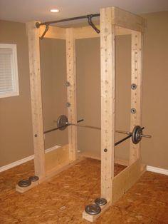 Homemade power rack @Jon Smith Smith Smith Smith Heath Oh honeeeeee.... :)