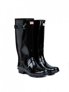 Hunter Huntress Gloss Wider Calf Rain Boots in Black