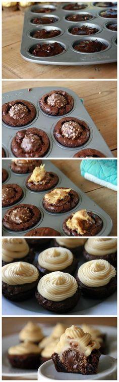 Yum!! Ferrero Rocher Brownie Bites with Caramel Icing